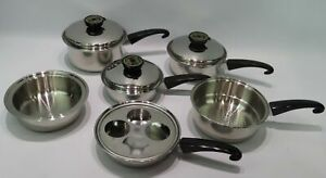VINTAGE-LOT-OF-REGAL-WARE-SEAL-O-MATIC-COOKWARE-POTS-PANS-STAINLESS-STEEL-T304