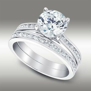 2-88-Ct-Round-Cut-Engagement-Ring-with-Matching-Band-Lab-Diamond-14K-White-Gold