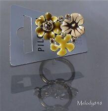 VINTAGE ANDERSEN Pellegrino Anello preferiti fiore Oro/Marrone swarovski NUOVA con etichetta