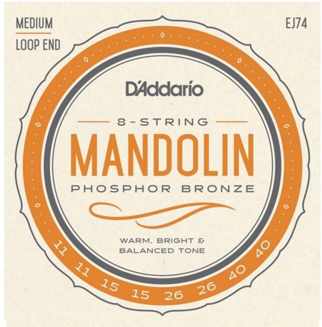 12 Pack EJ74-3D D'Addario Mandolin Strings Phosphor Bronze 11-40 Medium J74
