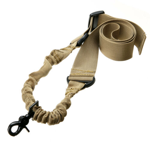 Adjustable Single Point Tactical Bungee Rifle Airsoft Sling Strap Hook Durable