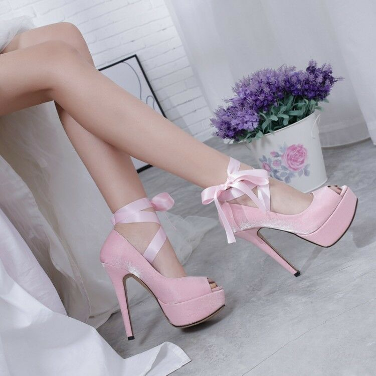 Womens Sexy Open Toe Lace Strappy Slim High Heels Platform Party shoes Casual N