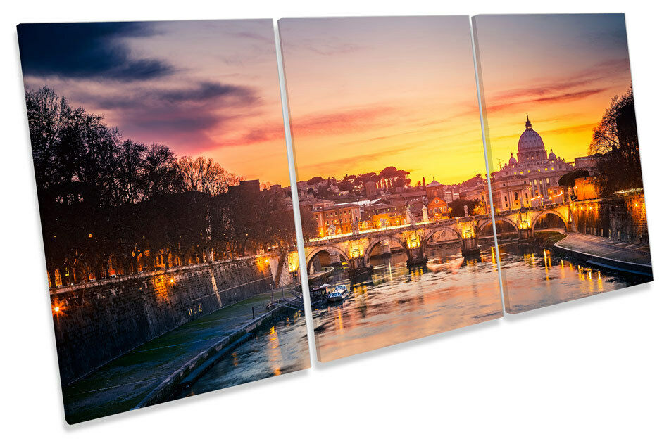 St Peters Cathedral Rome Sunset Italy TREBLE TREBLE TREBLE CANVAS WALL ART Picture Print 146877