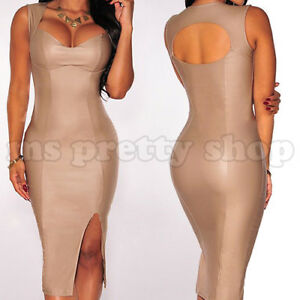 Plus-Size-Women-039-s-Beige-Pencil-Bodycon-Cocktail-Party-Wiggle-Long-Evening-Dress