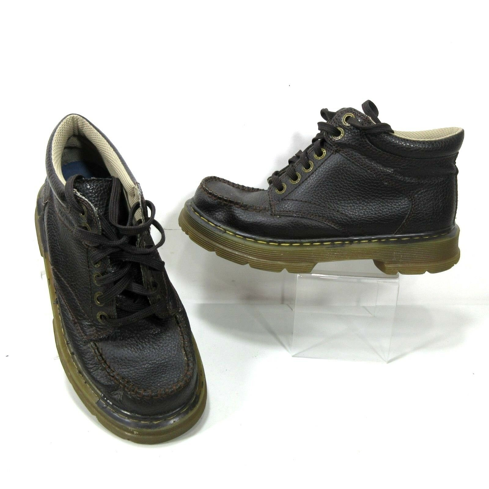 Dr. MARTENS GARVEY Men's US 9 Brown Pebbled Leather Casual Moc Toe Chukka Boots