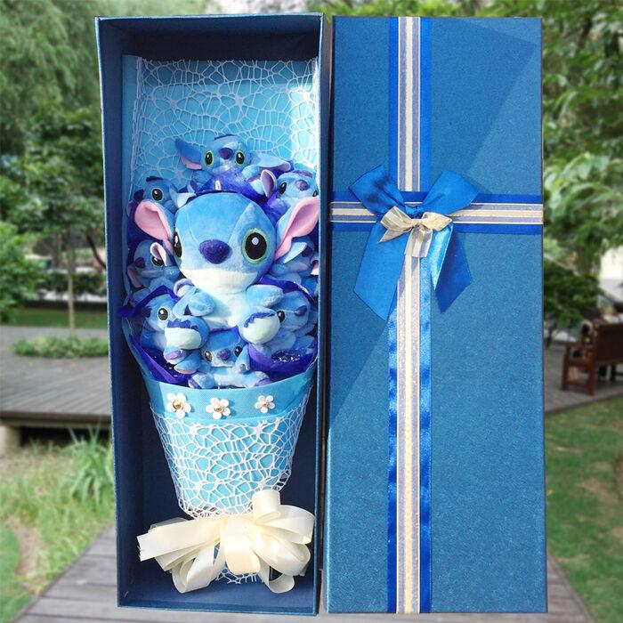 Handgjorda fina paket med 9 Lilo Stitch Dolls Leksaker Blommor Kreativa Gåvor med ask