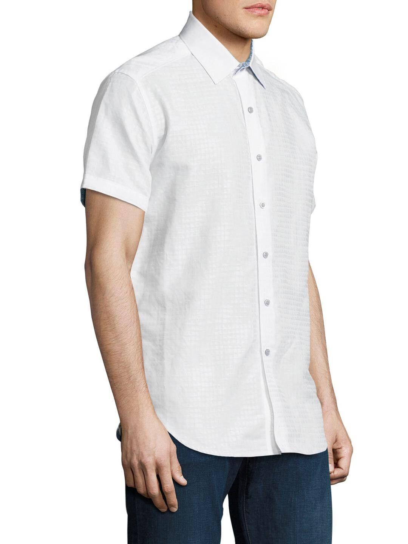 NWT Robert Graham Men's White Briarwood Curved Hem Short Sleeve Shirt XS