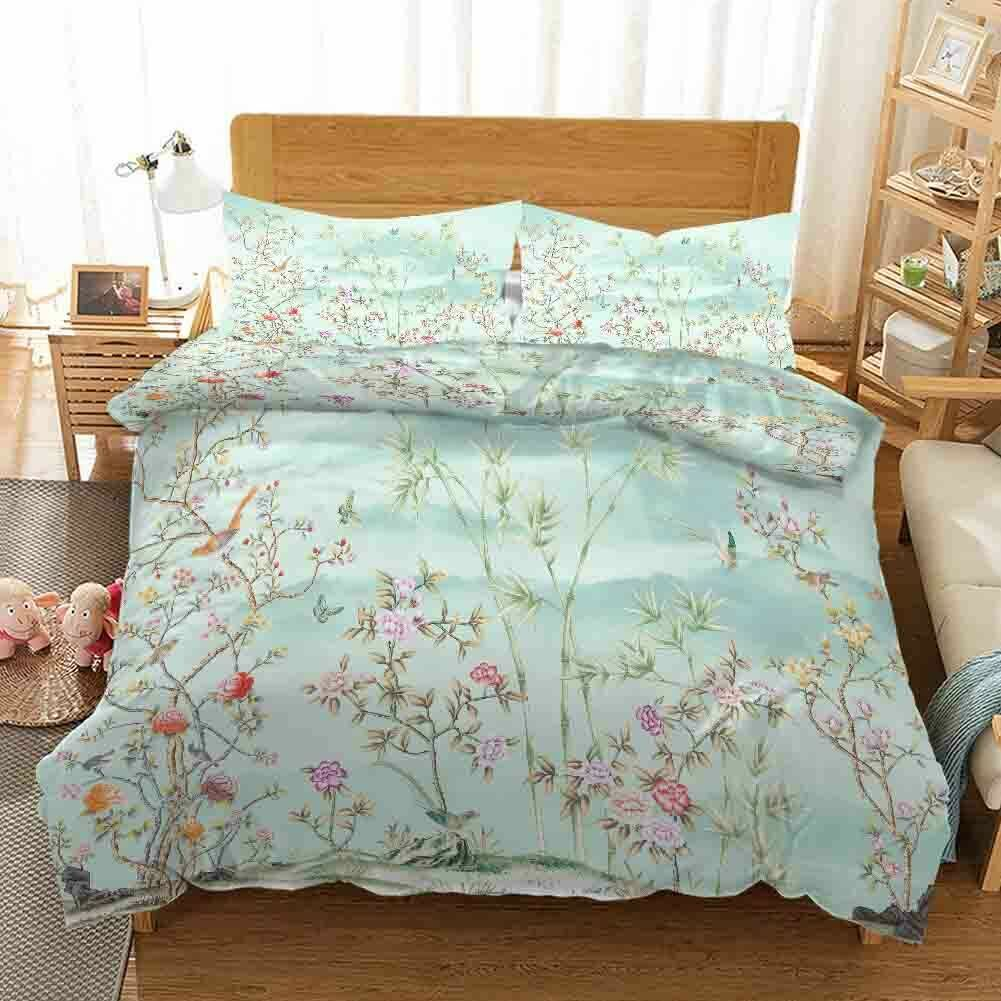 Grün Branch Bird 3D Printing Duvet Quilt Doona Covers Pillow Case Bedding Sets
