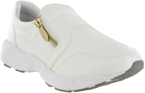 Heavenly Soles Womens Casual Slip On Zip Wide Fit White Walking Trainers Shoes