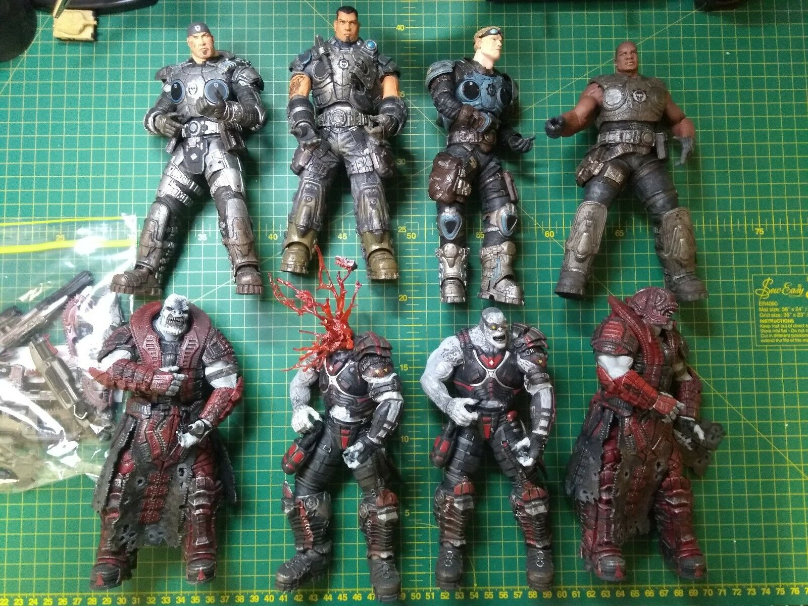 NECA Gears Of War Series 1 and 2, 8 figures COG and Locust Used