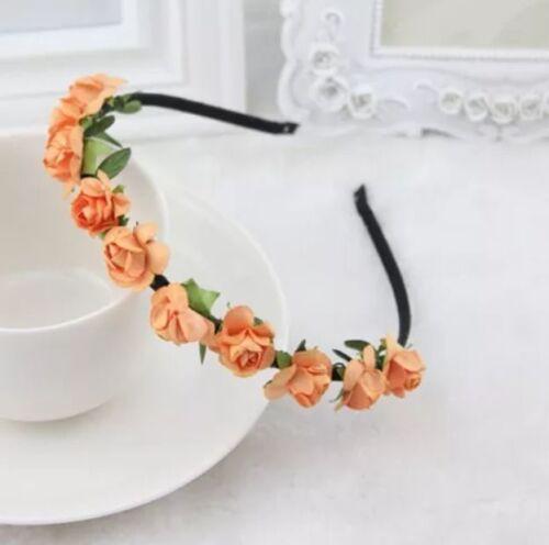 Rose Flower Head Boho Garlan Girl Beach Crown Elastic Hair Band Headband Wedding