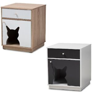 Cat-Litter-Box-Cover-Cat-House-End-Side-Table-Furniture-Two-Tone-Oak-White-Gray