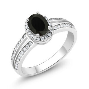 1-30-Ct-Oval-Black-Onyx-925-Sterling-Silver-Ring
