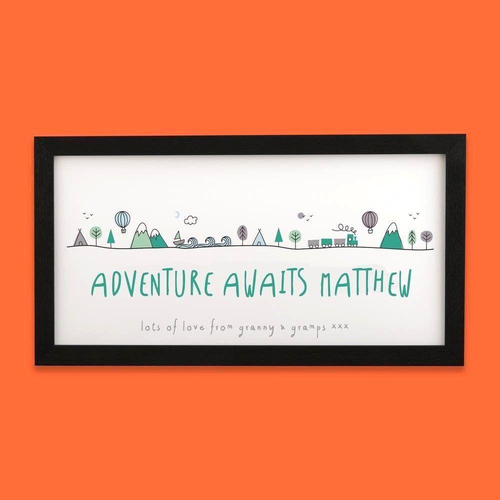 Personalised Name Adventure Scene Long Nursery Print   New Baby Christening Gift