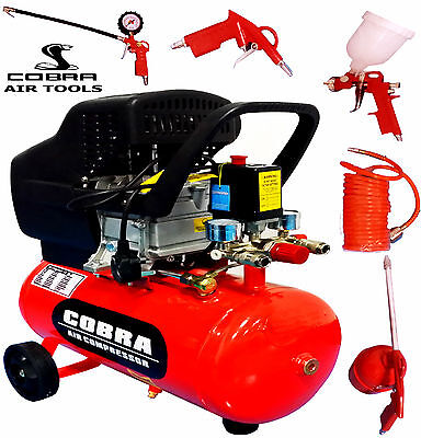 COBRA AIR TOOLS 24L LITRE AIR COMPRESSOR  2.5HP & 5 PCS KIT 8 BAR POWERFUL