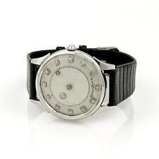 Baume & Mercier Mystery Diamond Dial Hand Wind 14k Gold Leather Band Wrist Watch
