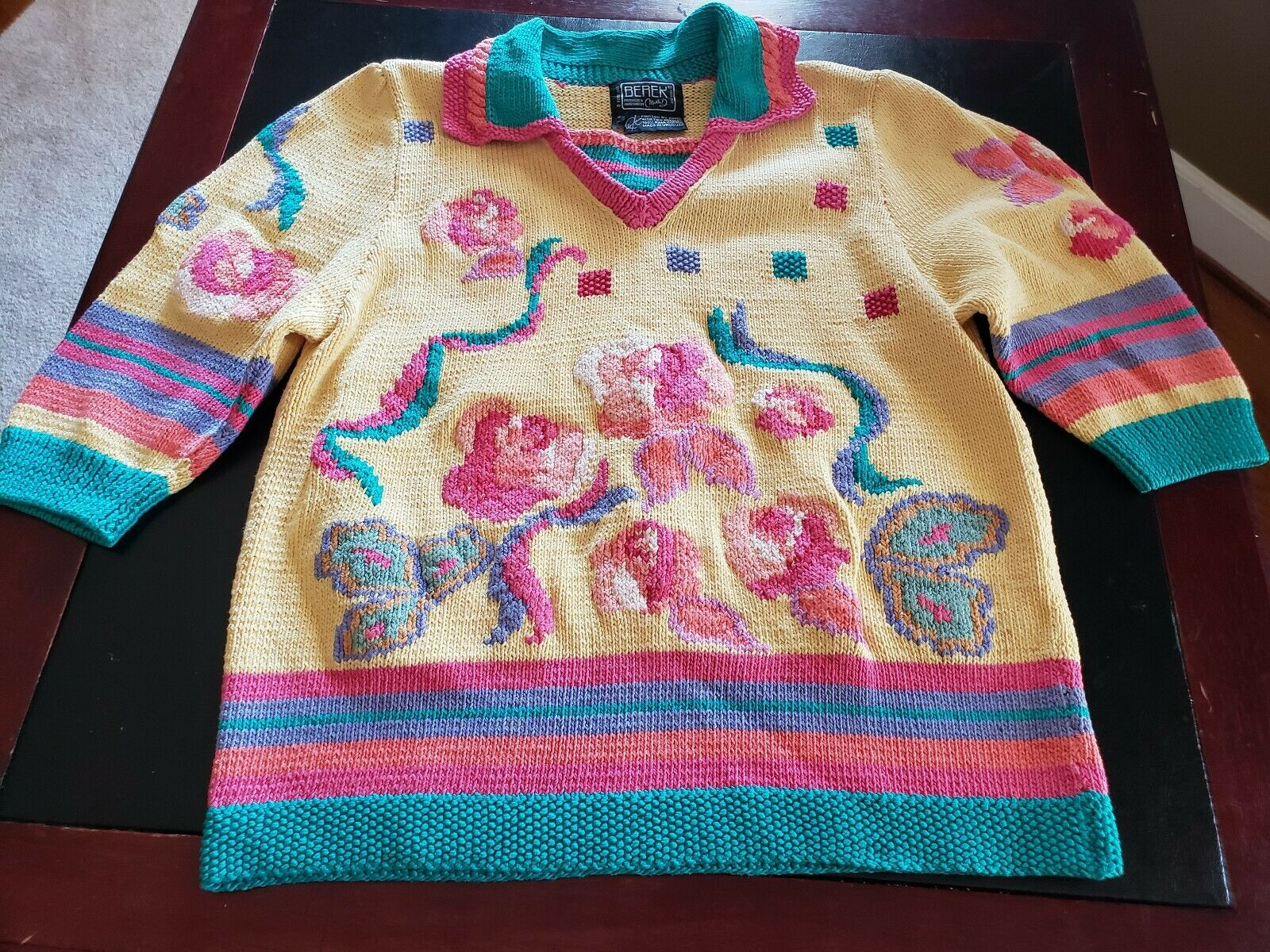 BEREK Marta D 1989 Sweater Flowers  COTTON Collar 3 4 Sleeve Size see photo