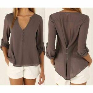 Tops-Casual-Ladies-Loose-Blouse-Women-039-s-Long-Sleeve-Fashion-Shirt-Summer-Chiffon