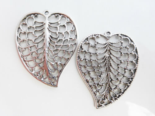 C9 2 x Large Antique Silver Filigree Leaf Charms Pendants Beads LF NF CF