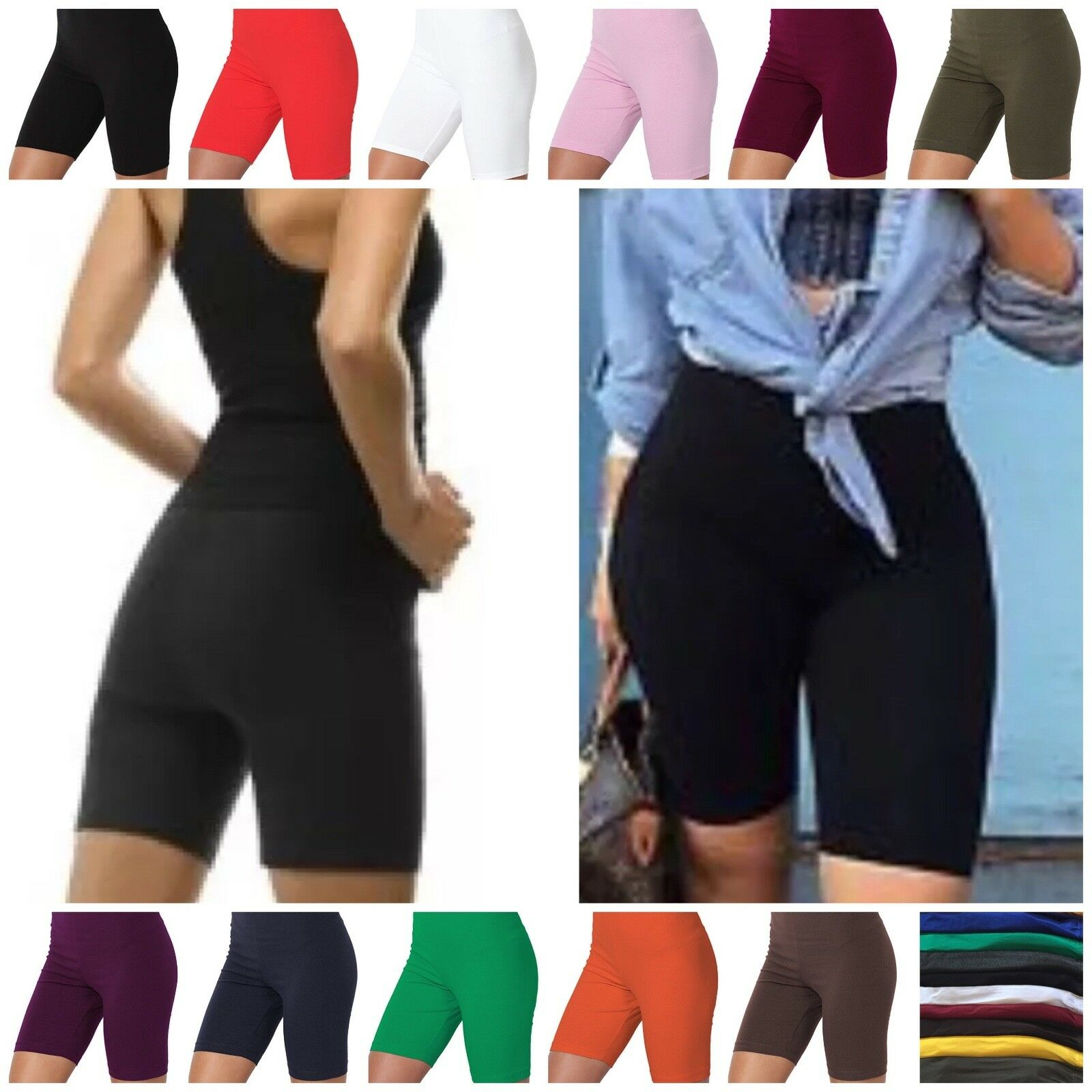 Cotton Spandex Biker Shorts LOT 1 OR 6 Bermuda Women's Plus Size HI-WAIST S-3XL