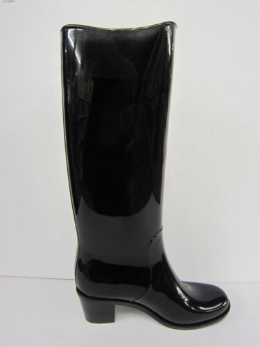 Unbranded X1130 Black Cat Design Pull On Rubber Unique Heeled Wellies FESTIVALS