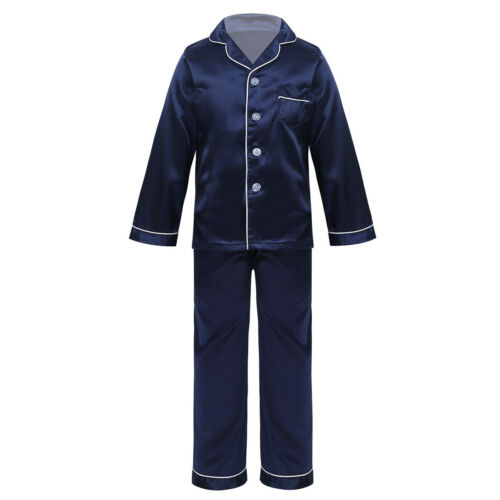 Kids Boys Girls Two Piece Silk Pajamas Outfit Button-Down Long Sleeve Unisex