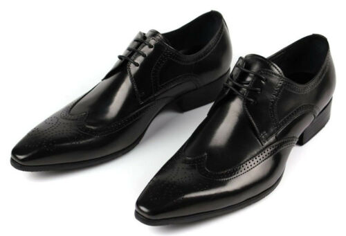Men/'s Shoes Dress Formal Cow Leather Lace-up Tip Black Brown New Size 5~11 37~44