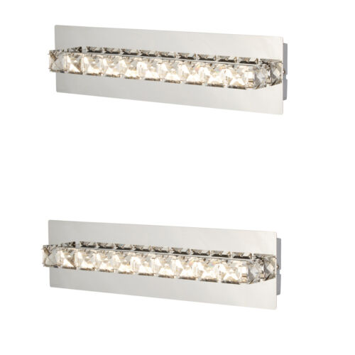 2 x Searchlight 6001cc Chrome Finish LED Line of Clear Crystal Design Wall Light