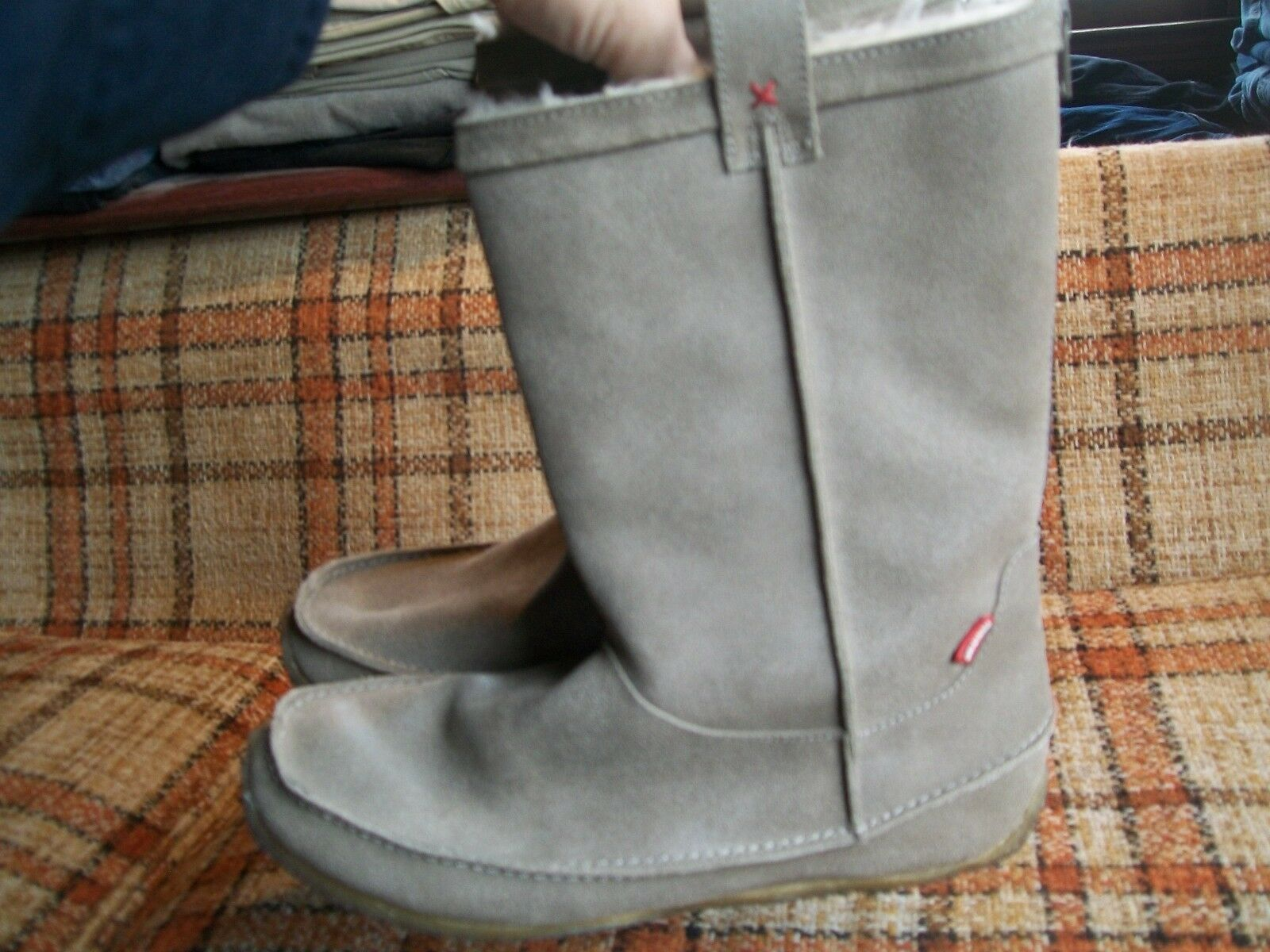 Clarks Originals Womens Size 8M Tan Leather Fur-Lined  Back-Zip Boots 70209