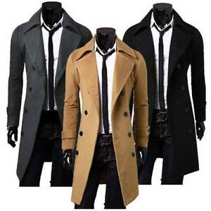 herren mantel business schwarz jacke sakko wintermantel business lang trenchcoat ebay. Black Bedroom Furniture Sets. Home Design Ideas
