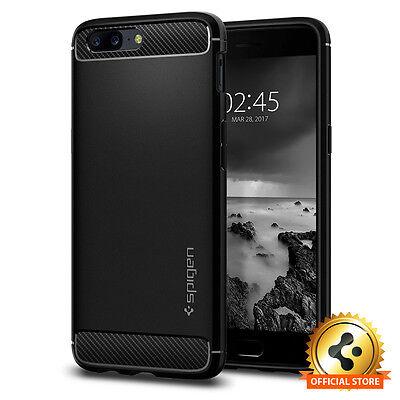 Spigen® OnePlus 5 [Rugged Armor] Slim Protective Shockproof Black TPU Case Cover