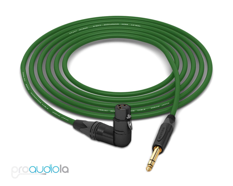 Mogami 2534 Quad Cable   Neutrik guld 90º XLR-Female to TRS   grön 25 Feet 25'