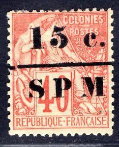 ST PIERRE et MIQUELON 1885 Yvert 14 * guter Aufdruckwert (C5754