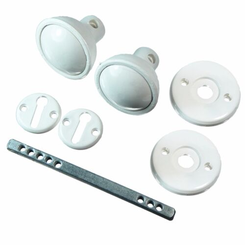 60mm WHITE PLASTIC RIM MORTICE DOOR KNOB SET Garden Shed Gate Garage Lock Handle