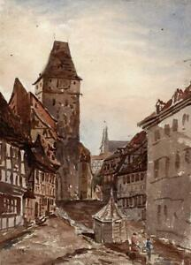 STREET-SCENE-NORDHAUSEN-GERMANY-Watercolour-Painting-19TH-CENTURY-GRAND-TOUR