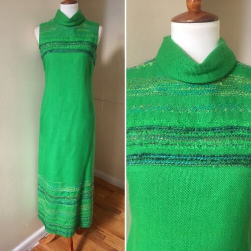 Vintage 60s Tweed Maxi Dress XS/S Boucle Wool Gree