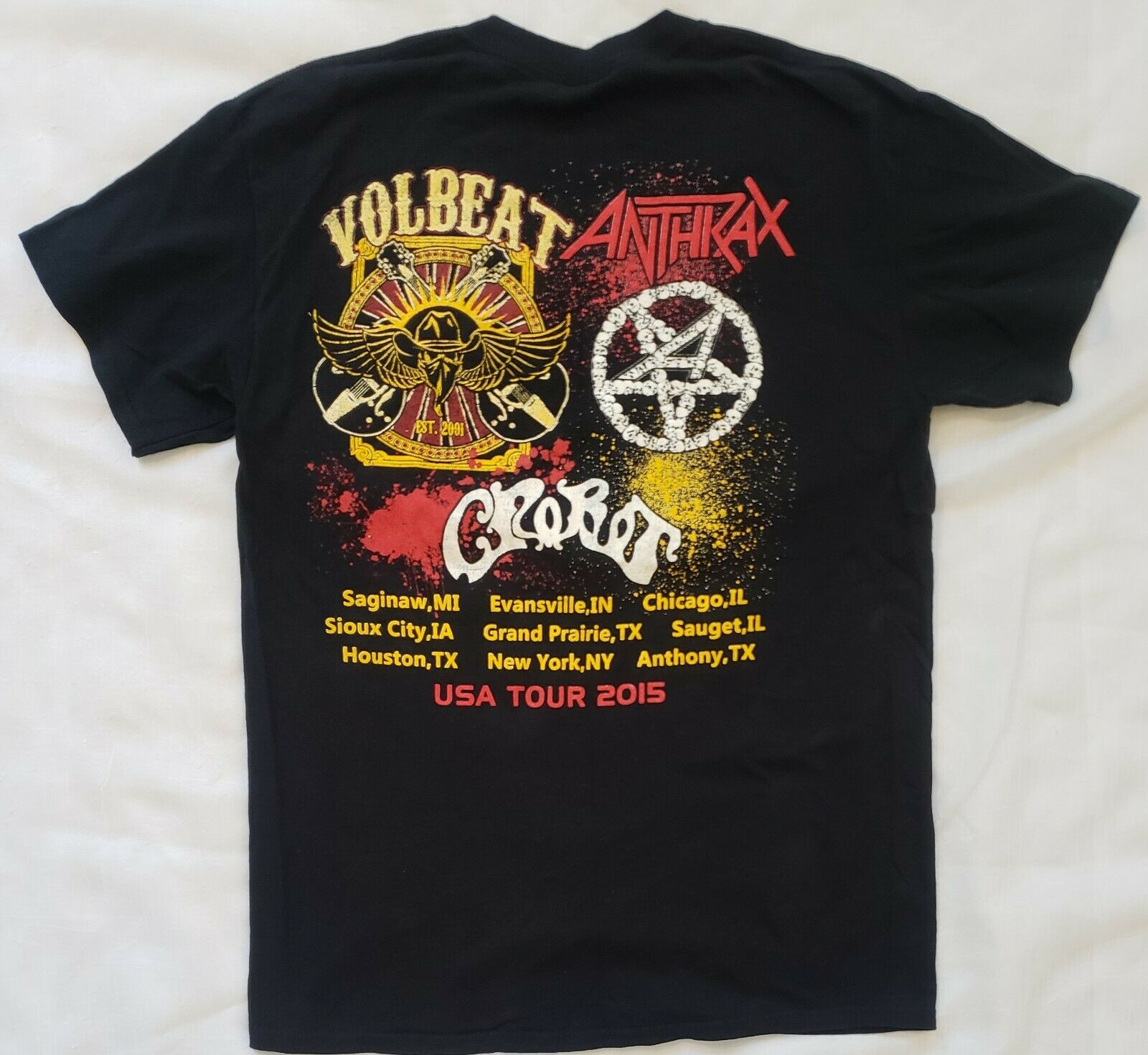Volbeat Anthrax Crobot Concet Tour Shirt 2015 Siz… - image 2