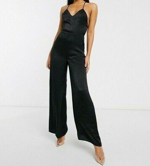 Asos Design Femme Cami Strap Plongeant Devant Satin Combinaison Taille 10 Neuf Avec étiquettes