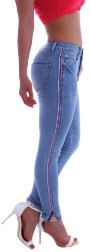 Damen Slim Fit Röhrenjeans Röhre Skinny blau Hose Low Rise Tief Hüftjeans M12