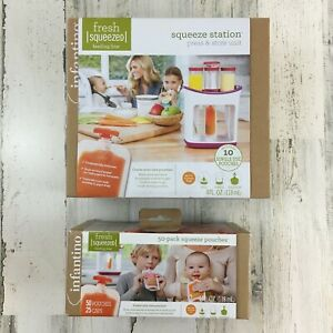 New-Infantino-Fresh-Squeezed-Squeeze-Station-Baby-Food-Maker-Plus-50-Pouches
