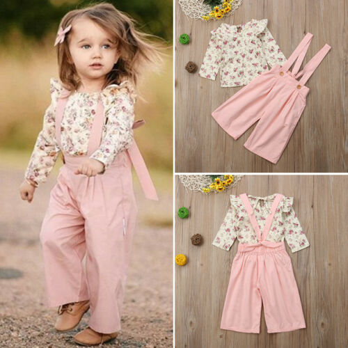 2PCS Toddler Kids Baby Girl Winter Clothes Floral Tops+Pants Overall Outfits AU