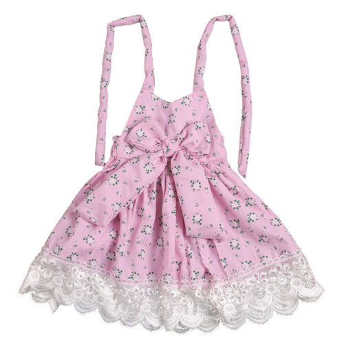 WR/_ Fashion Little Princess Girl Sleeveless Floral Print Lace Bowknot Halter Dre