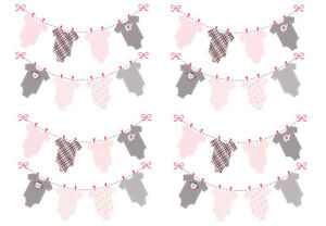 Pink Girls Baby Washing Line Clothes Bunting Edible A4 Icing Sheet