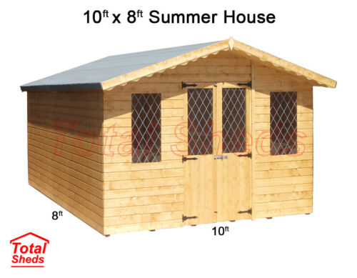 10 x 8 SUPREME SUMMER HOUSE LOG CABIN WOODEN GARDEN SHED HIGH QUALITY TIMBER