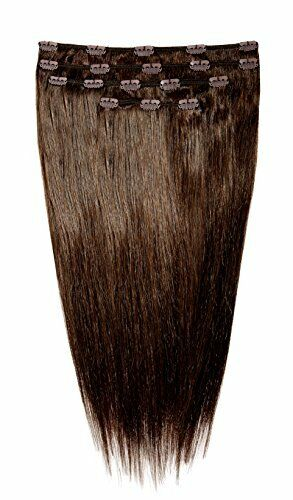 American Dream Human Hair Full Head Set of Clip in Extensions, Dark Mocha Brown