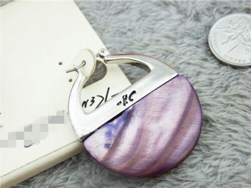 Boucles d/'Oreilles Argenté Creole Nacre Violet Retro DD10