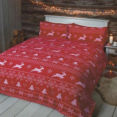 Nordische Weihnachten Rentier Rot Weiß 100% Gebürstet Kingsize-bettbezug Um Sowohl Die QualitäT Der ZäHigkeit Als Auch Der HäRte Zu Haben Bettwäschegarnituren