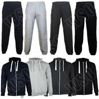 Mens Plain Full Tracksuit Sweatshirt Joggers Zipped Hooded Top Size S M L Xl Xxl