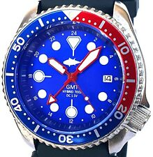 Vintage mens SEIKO diver 7002 GMT PEPSI * mod SWISS dual-time w/Blue TUNA dial !
