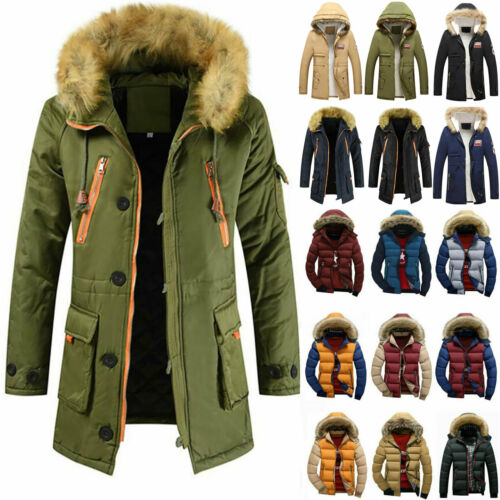Men Winter Warm Hooded Jacket Fur Collar Thick Fleece Parka Zip Up Coats Outwear